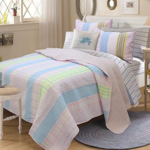 Cozy Line Home Fashion Tara Stripe 3 Piece Full/Queen Quilt Set
