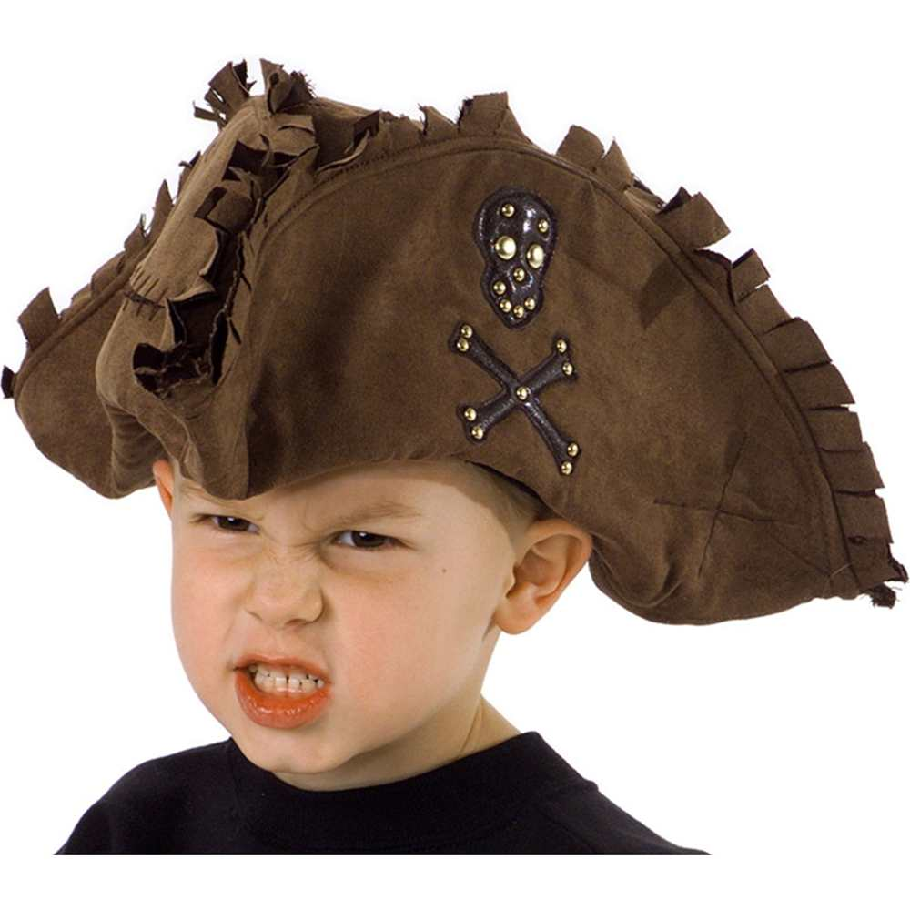 Tattered Pirate Costume Hat Brown