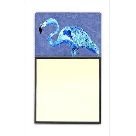 Flamingo On Slate Blue Refiillable Sticky Note Holder Or Postit Note Dispenser, 3 x 3 In.