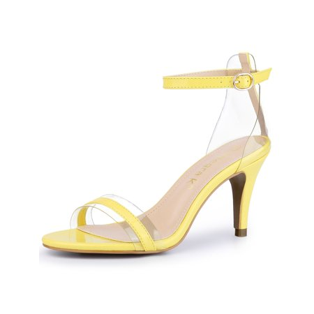 Women's Stiletto Heel Ankle Strap Clear Sandals Yellow (Size 7)