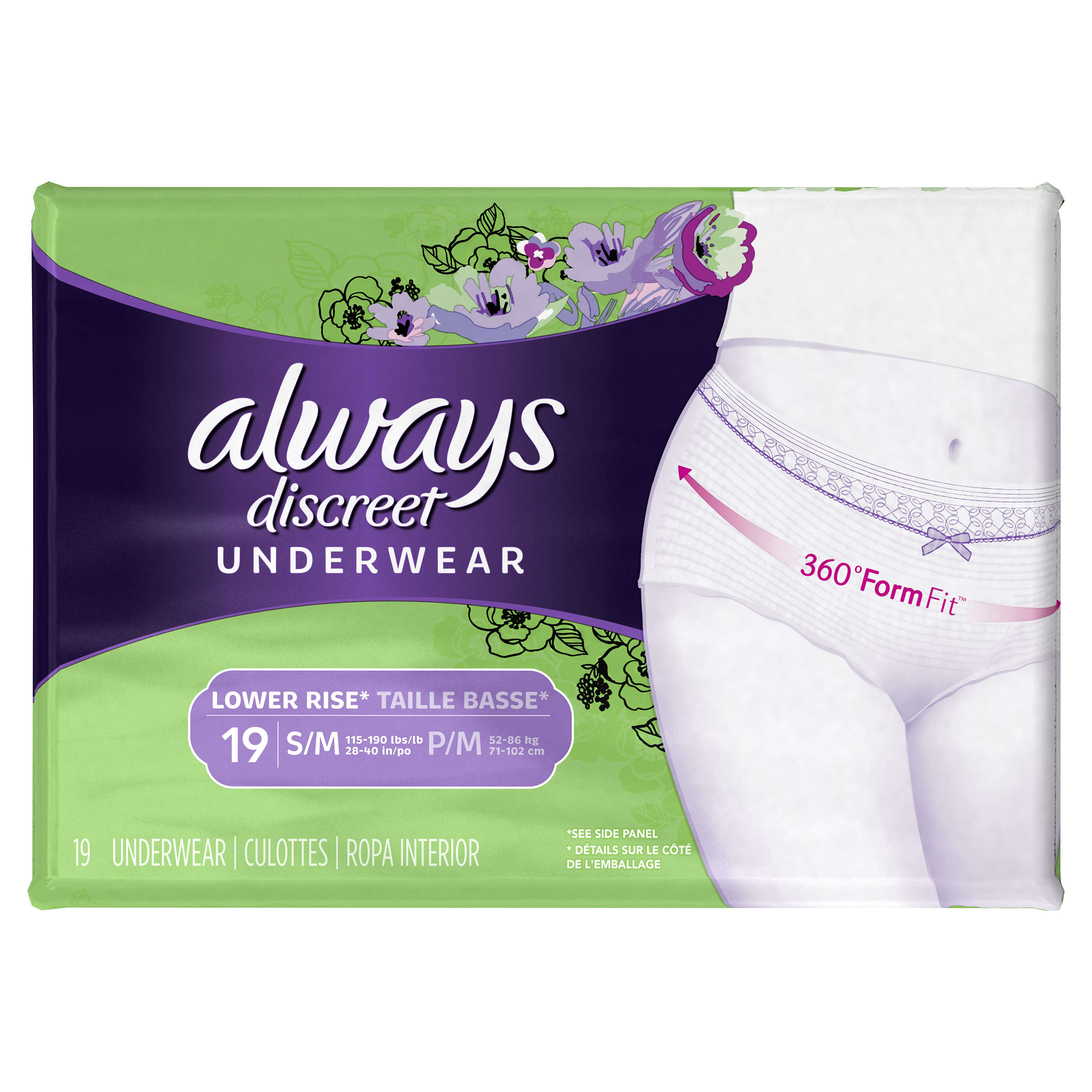 Always Discreet, Incontinence Underwear for Women, Low Rise, Moderate Absorbency, Small/Medium, 19 Count