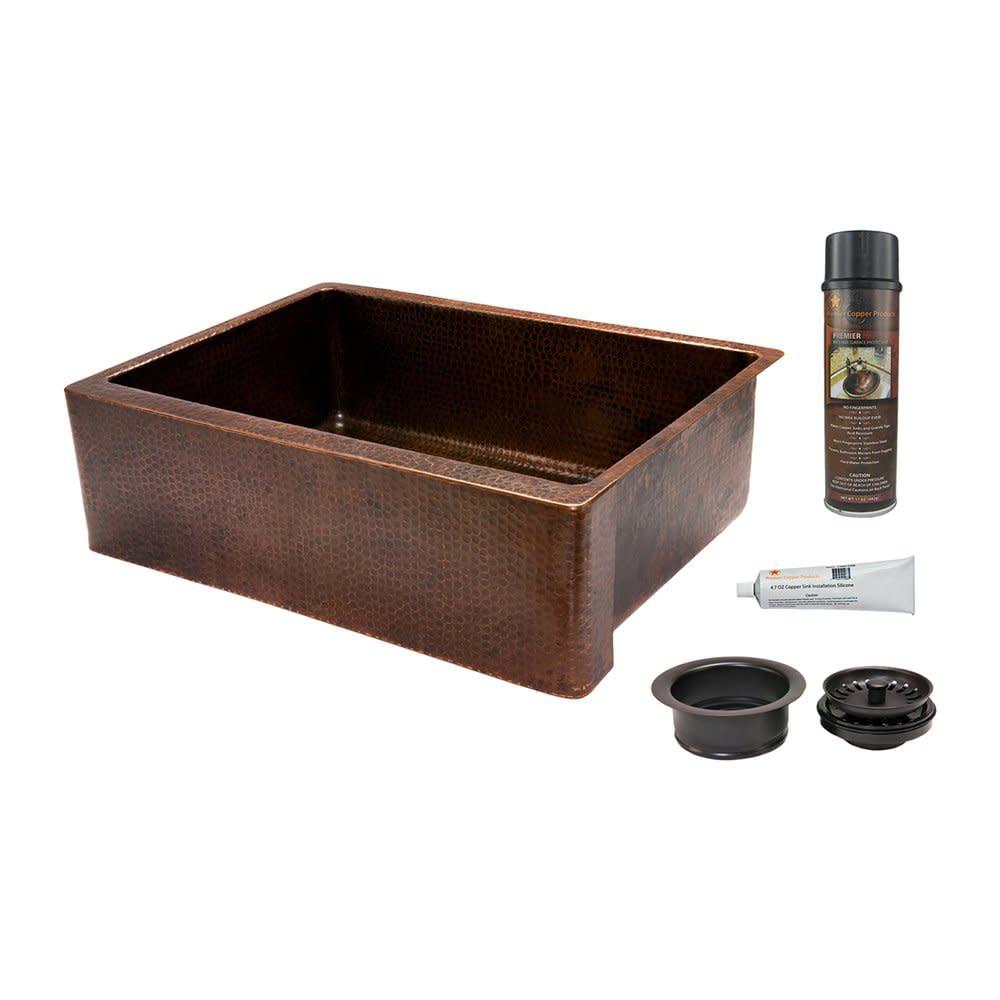 "Premier Copper Products KSP3_KASDB30229 30"" Hammered Copper Kitchen Apron Single"