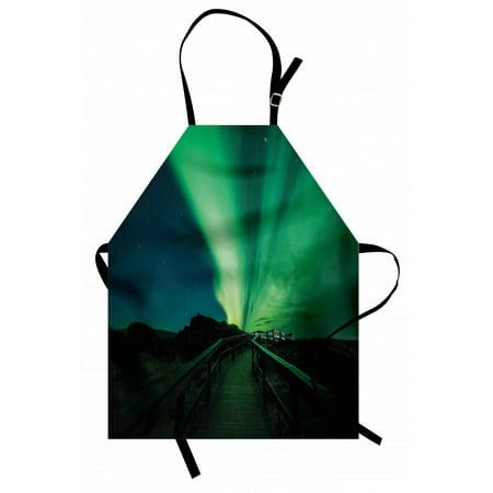 Aurora Borealis Apron Wooden Bridge Solar Sky Scenic Radiant Rays Arctic Magic Scenery, Unisex Kitchen Bib Apron with Adjustable Neck for Cooking Baking Gardening, Fern Green Dark Blue, by Ambesonne Joey Greens Gardening Magic