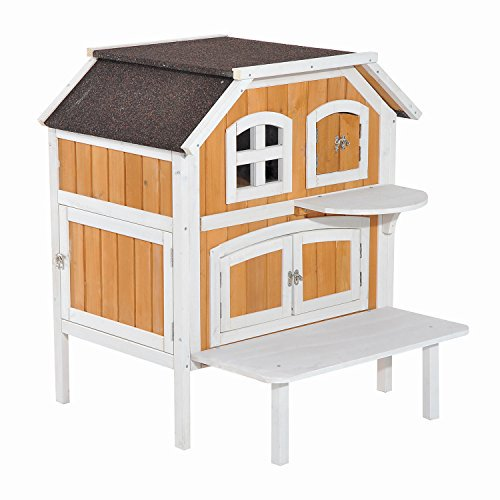 Pawhut 2 Story Wooden Raised Indoor Outdoor Cat House Cottage   Wood/White