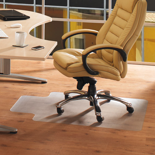 "Cleartex AdvantageMat 36"" x 48"" Rectangle with Lip Smooth Back Chairmat - For Hard Floors"
