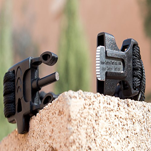Best Black 550 Paracord Bracelet for Survival & Camping Includes Built-In Emergency Whistle & Firestarter! & 100% Guaranteed! by Under Control Tactical
