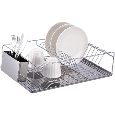 Home Basics Chrome-Plated Steel Dish Rack with Stainless Steel