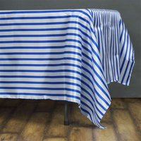 "60x102"" White/Royal Blue Striped Satin Tablecloth 2PC"