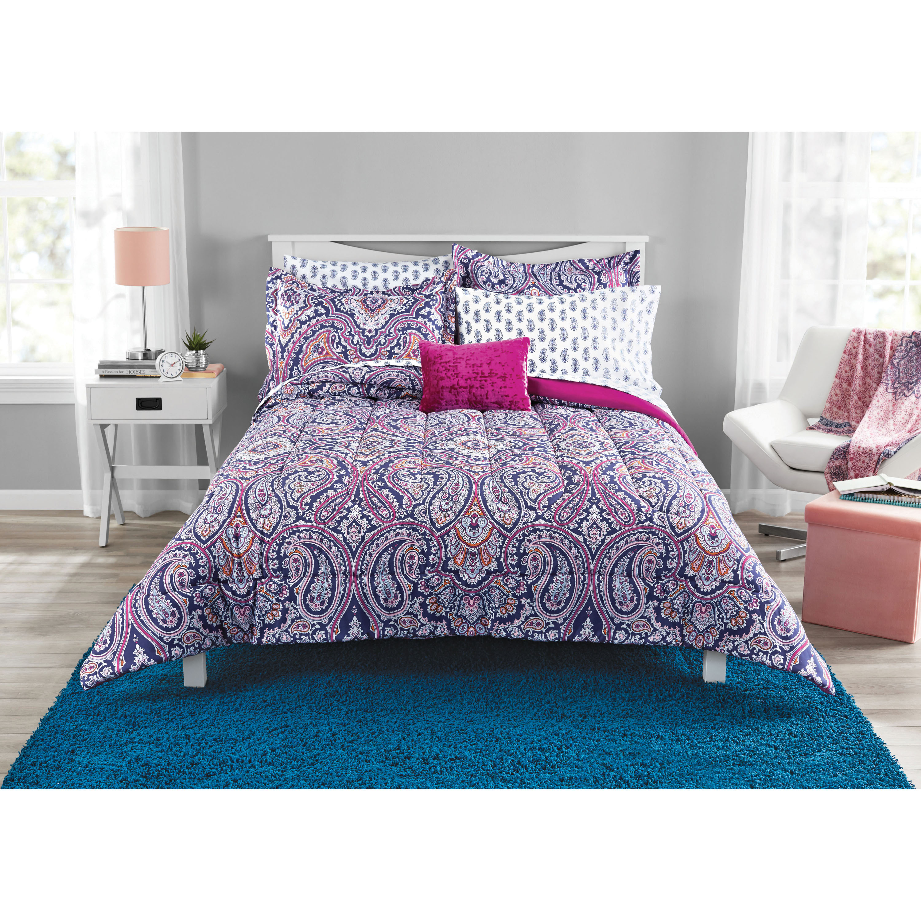 Mainstays Scarf Paisley Bed in a Bag Bedding Set, King