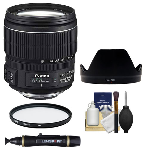 Canon EF-S 15-85mm f/3.5-5.6 IS USM Zoom Lens + EW-78E Ho...