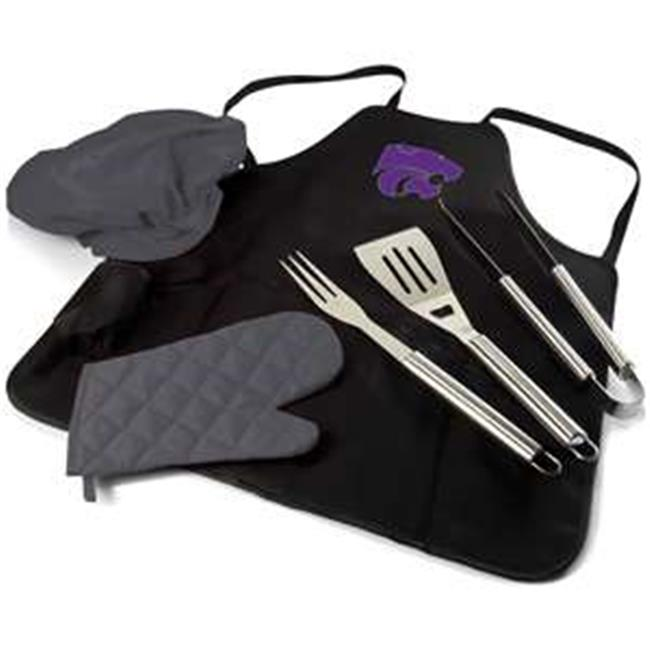Kansas State Wildcats Digital Print BBQ Apron Grill Tool Set Tote Pro Bag, Black
