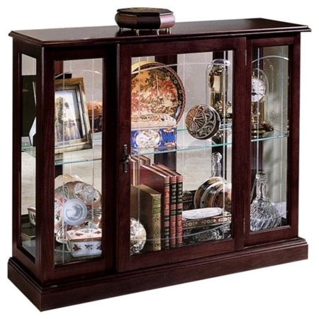 Cherry Carved Curio Cabinet - Pulaski Curios Display Cabinet in Ridgewood Cherry
