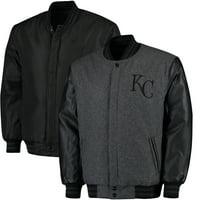 Kansas City Royals JH Designs MLB Reversible Wool Jacket - Heathered Charcoal
