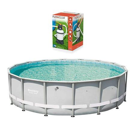 Bestway 16ft x 48in Power Steel Pro Frame Pool & Flowclear Sand Filter