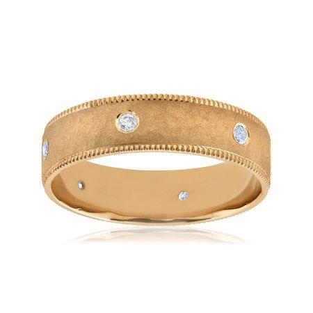 Mens 14K Yellow gold 6MM Diamond Brushed Hammered Wedding Ring Mans