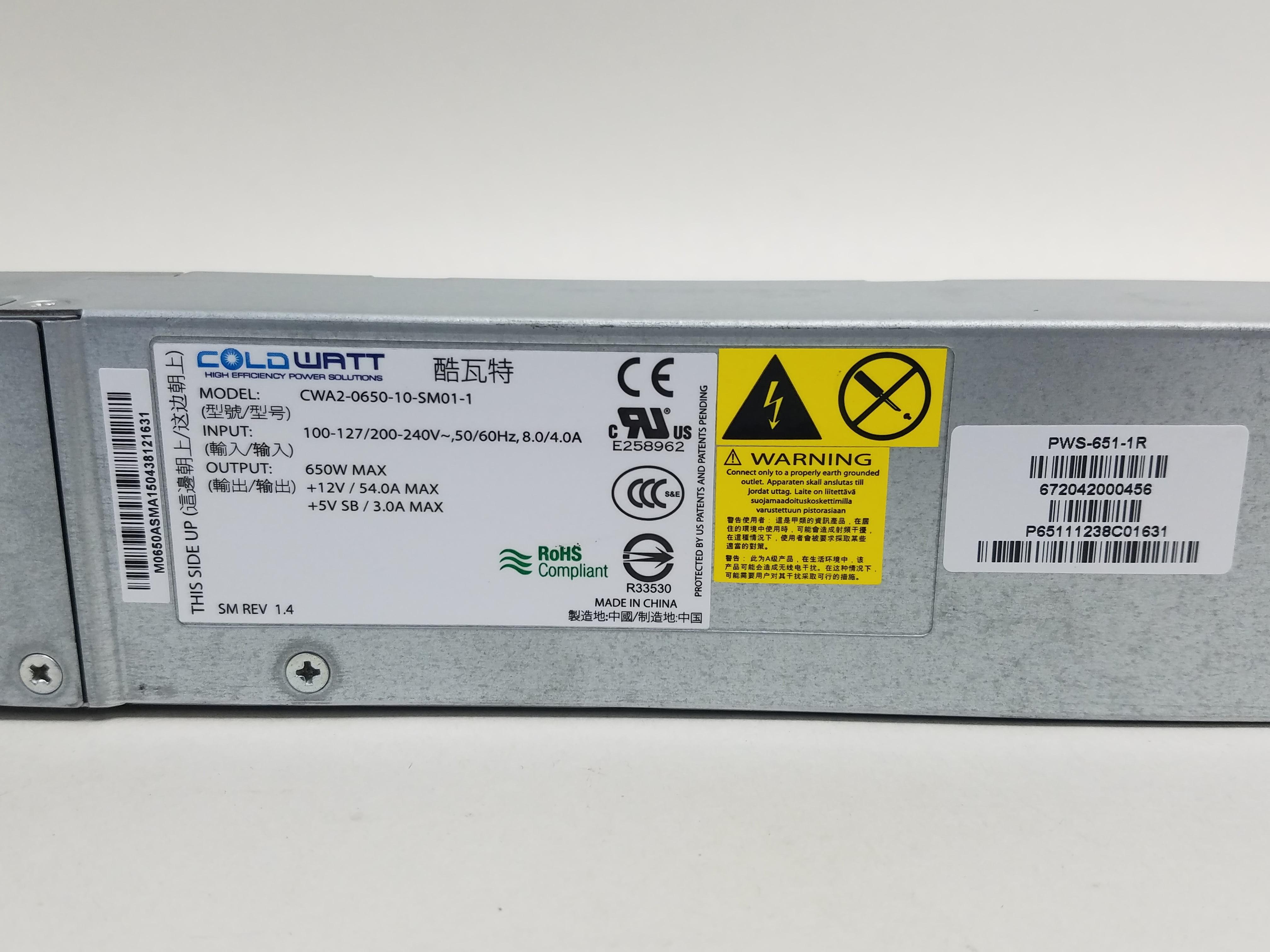 Coldwatt CWA2-0650-10-SM01 650W Power Supply Supermicro PWS-651-1R