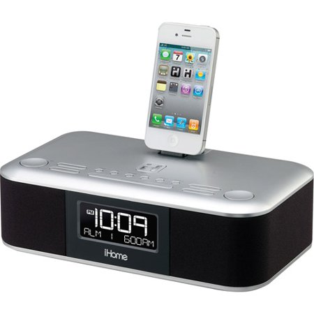 ihome id95sv app enhanced dual alarm stereo clock radio for ipad iphone ipod with fm presets. Black Bedroom Furniture Sets. Home Design Ideas