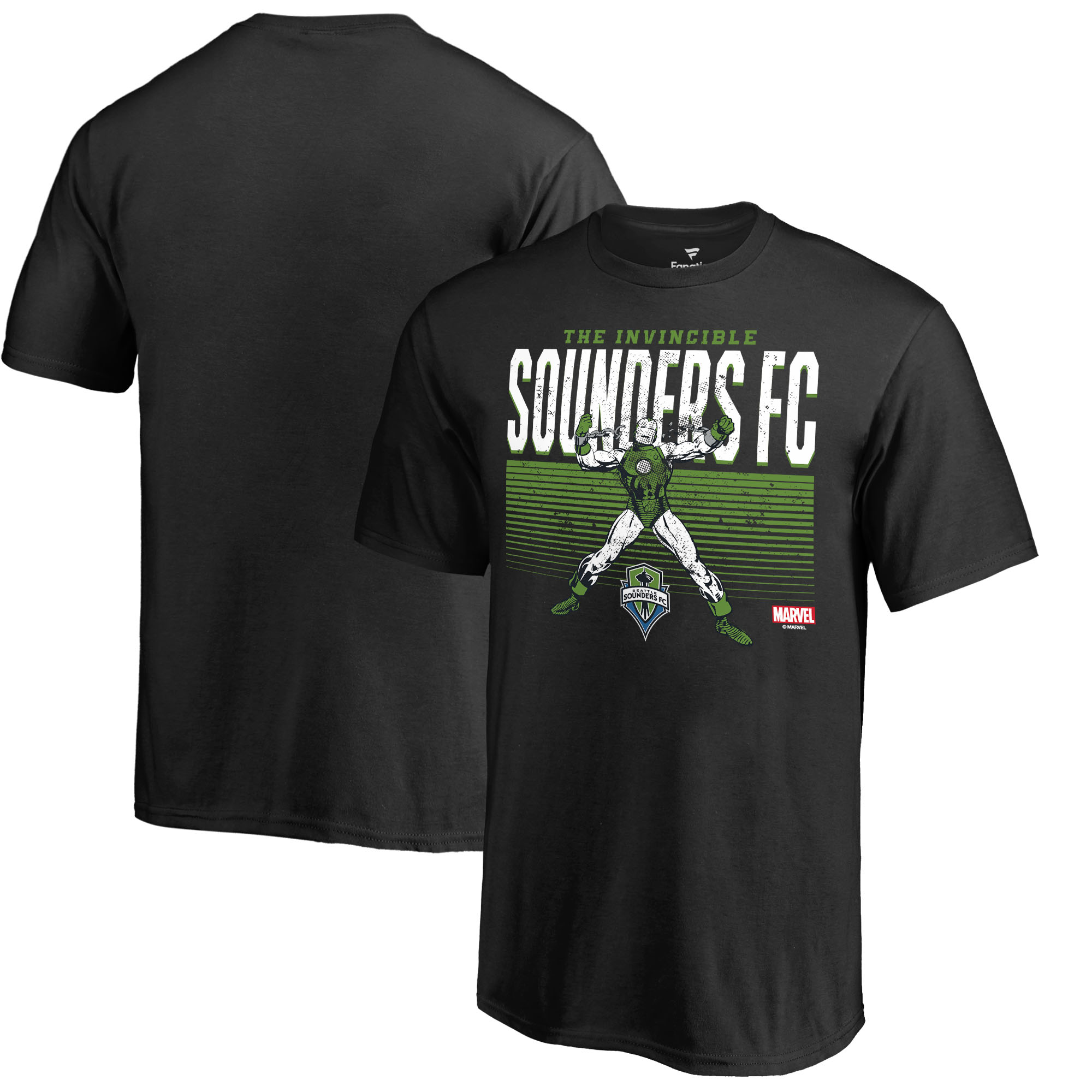 Seattle Sounders FC Fanatics Branded Youth MLS Marvel Iron Man Invincible T-Shirt - Black