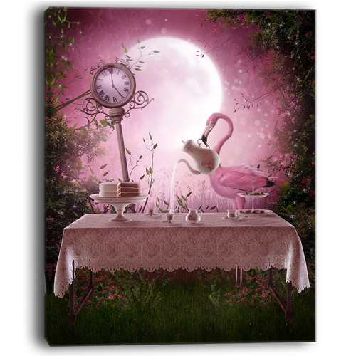 Design Art Fantasy Garden with a Flamingo Modern Landscape Graphic Art on Wrapped Canvas