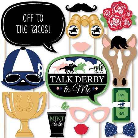 Kentucky Horse Derby - Horse Race Party Photo Booth Props Kit - 20 Count
