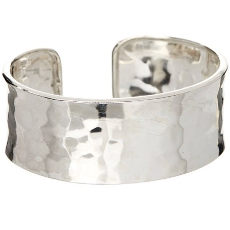 Hammered Silver Bangle - Sterling Silver Hammered Wide Cuff Bangle