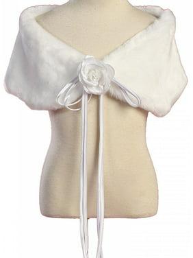 Little Girls Soft Furry Elegant Fur Shawl Shoulder Wrap Flower Special Occasion White 2 (K23D2)