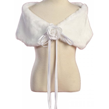 Little Girls Soft Furry Elegant Fur Shawl Shoulder Wrap Flower Special Occasion White 2 (K23D2) (Fun Wraps)