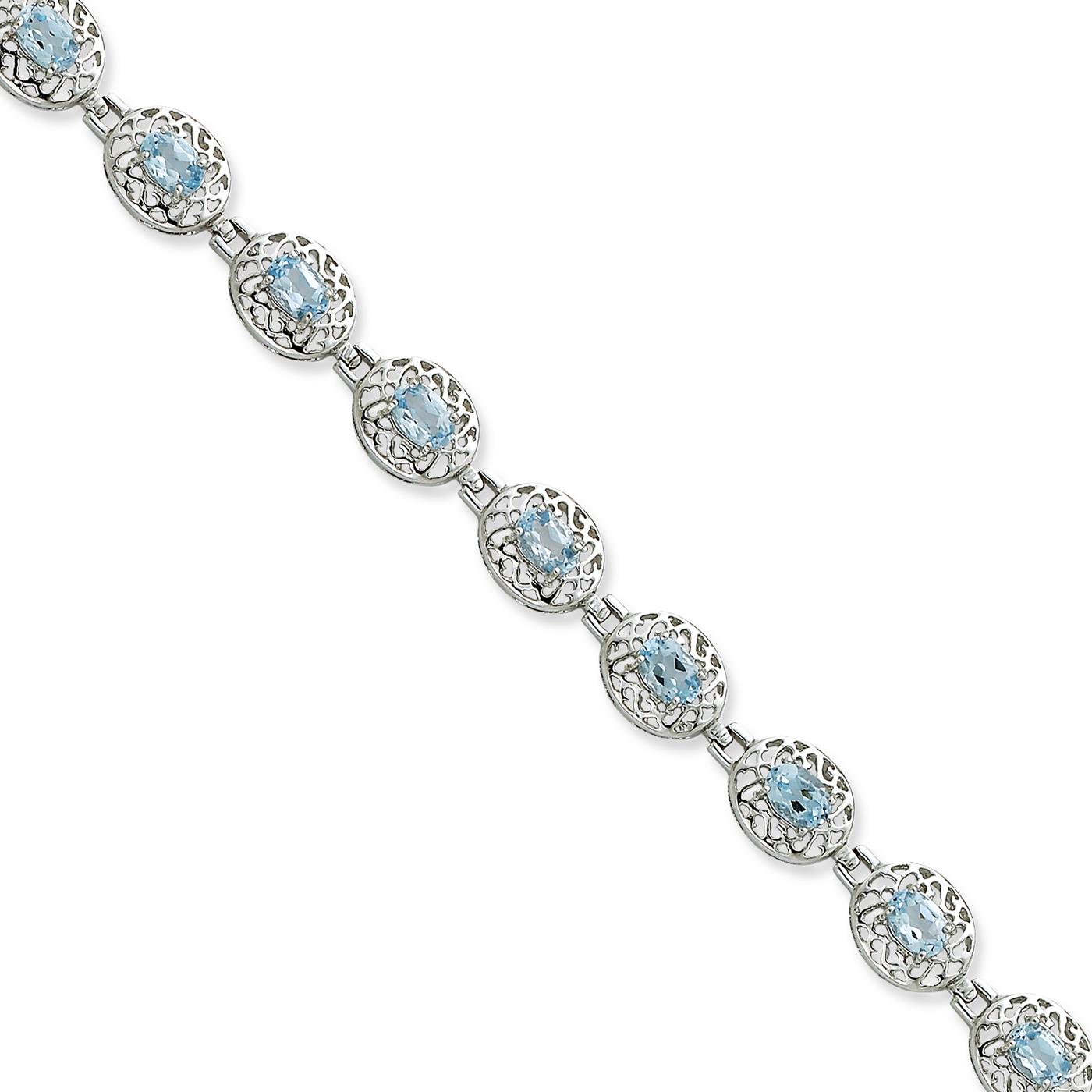 """Sterling Silver Rhodium Plated Polished Oval Filigree Blue Topaz Bracelet 7"""" by Fusion Collections"""