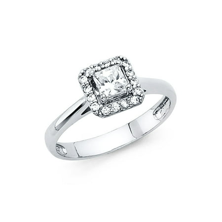 Cut Gem (Jewels By Lux 14K White Gold Princess Cut Square Shaped Cubic Zirconia CZ Engagement Ring Size 5.5 )