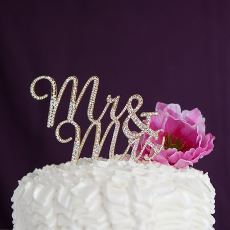 Mr and Mrs Wedding Cake Topper Gold Rhinestone Monogram Decoration (gold)