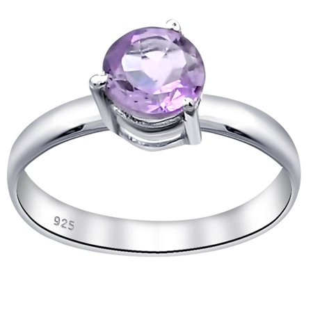 0.45 Carat Purple Amethyst Sterling Silver Engagement Ring For Women by Orchid Jewelry Size -7