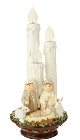 "14.5"" Pre-Lit Holy Family Christmas Nativity with Candles Tabletop Decoration"