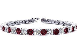 8 Inch 11 Carat Garnet and Diamond Tennis Bracelet In 14K White Gold by