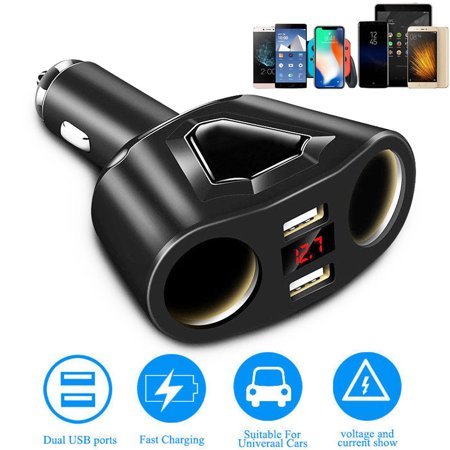 - 120W Dual USB Ports 3.1A Fast Charging w/ 2 Socket Cigarette Lighter Splitter Car Power Adapter, Two USB Ports Car Charger for Smart Phones Tablet GPS Devices