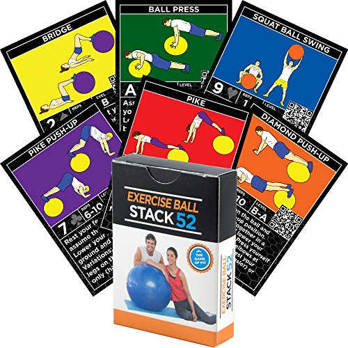 Exercise Ball Fitness Cards by Stack 52. Swiss Ball Workout Playing Card Game. Video Instructions Included. Bodyweight Training Program for Balance and Stability Balls. Get Fit at Home. EBS52