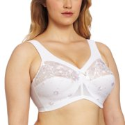 Glamorise Women's Plus-Size Embroidered Magiclift Bra, White, 52DD