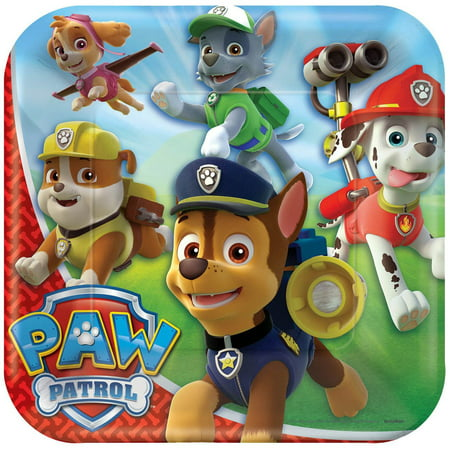 9 PAW Patrol Square Paper Party Plate 8ct