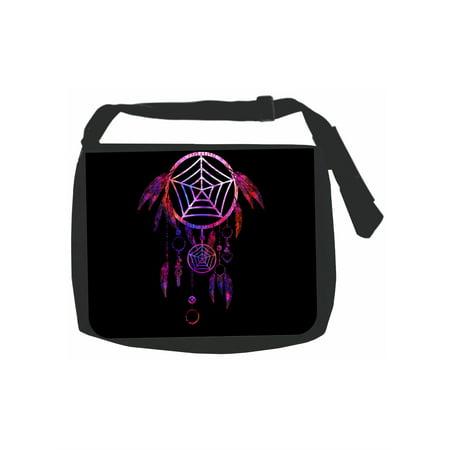 Multicolored Dreamcatcher - Girls Black Laptop Shoulder Messenger Bag and Small Wire Accessories Case Set ()