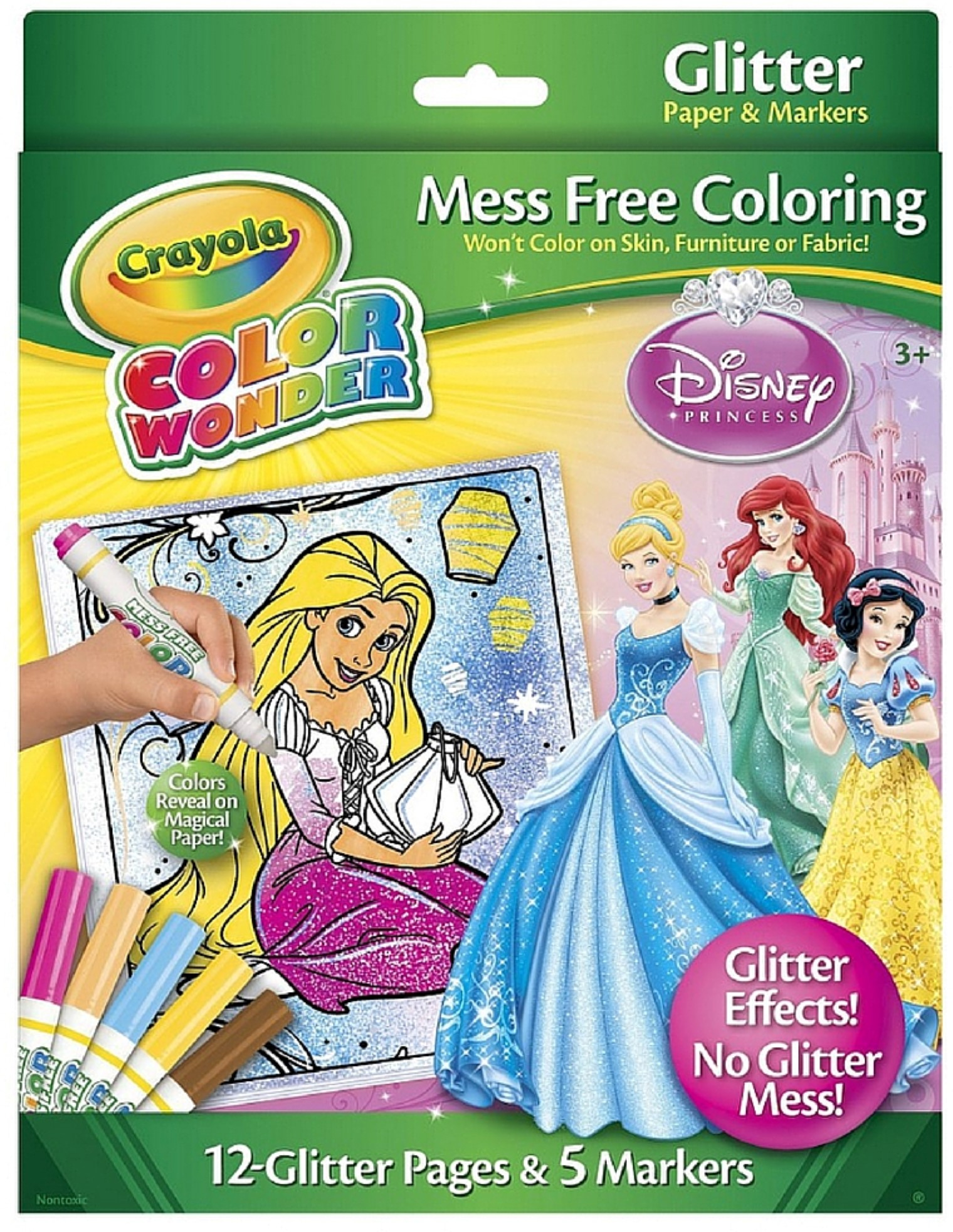 crayola color wonder glitter coloring pages and markers princess walmartcom