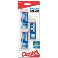 Pentel Hi-Polymer Block Eraser, Large White 3-Pk