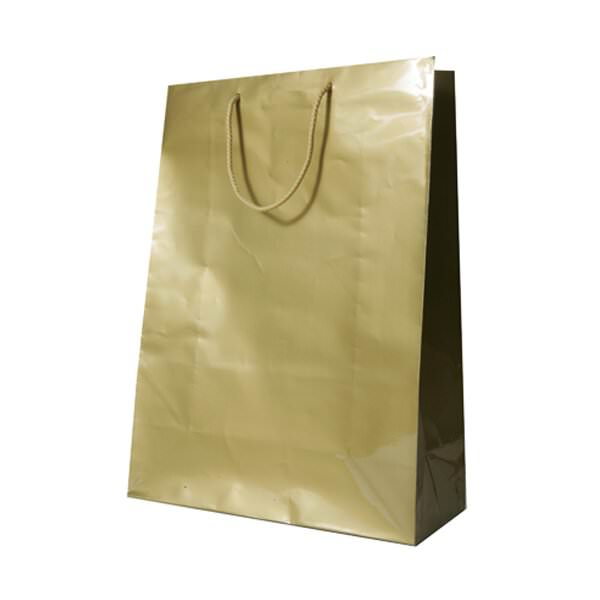 JAM Gift Bags - X-Large - 12 1/2 x 17 x 6 - Gold Glossy -...