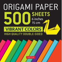 """Origami Paper 500 sheets Vibrant Colors 6"""" (15 cm) : Tuttle Origami Paper: High-Quality Origami Sheets Printed with 12 Different Colors: Instructions for 8 Projects Included"""