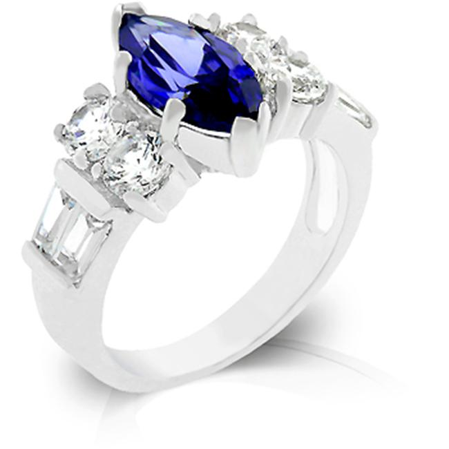 Kate Bissett R07928R-C21-07 Genuine Rhodium Plated Marquis Tanzanite Cubic Zirconia Crowned Ring Between a Pair of Round Prong set CZ and Emerald cut CZ in Silvertone - Size 7