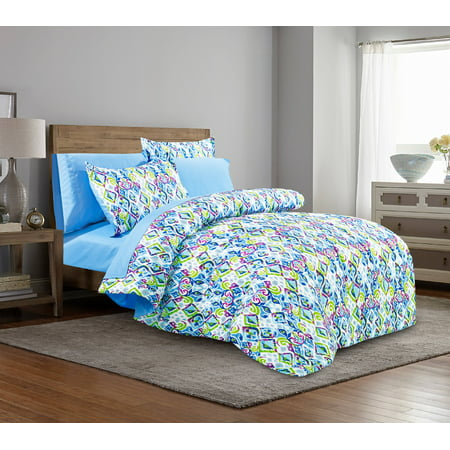 Pretty Flower Bed - Mainstays Pretty Mosaic Bed in a Bag Complete Bedding Set