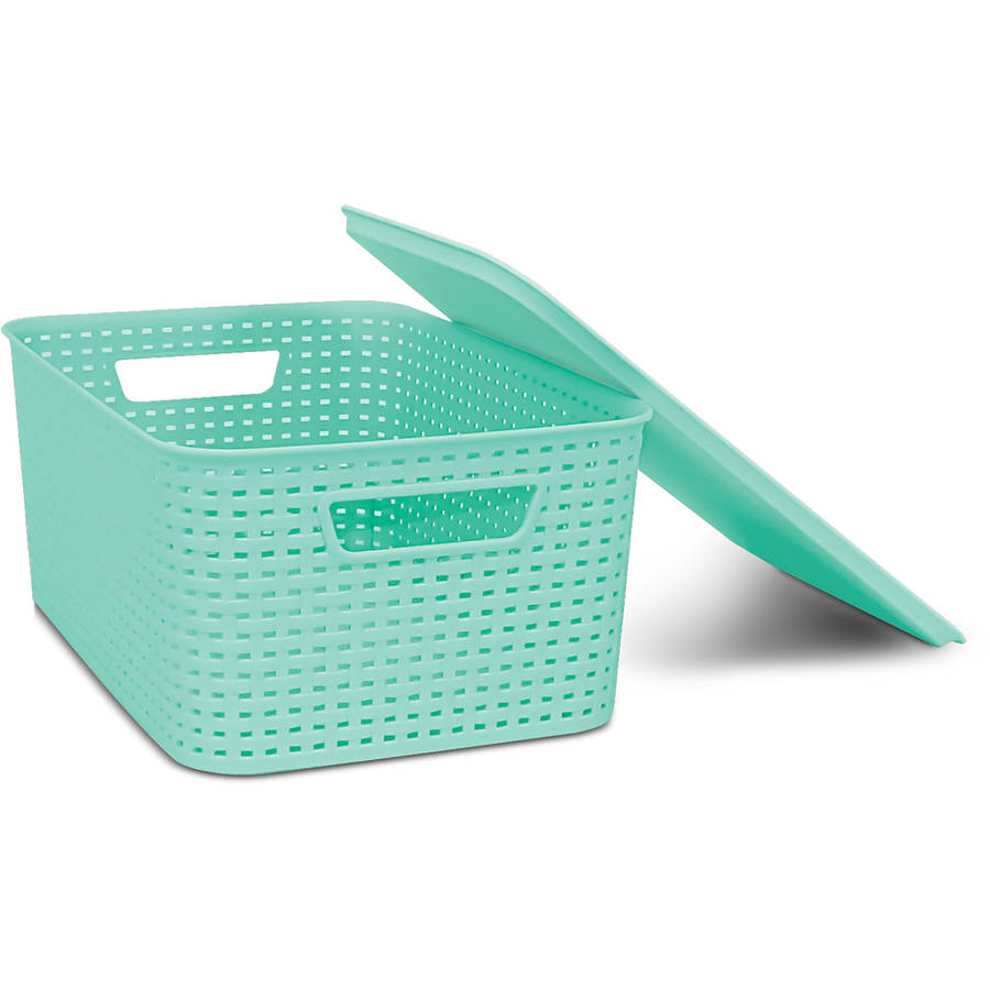 Homz Plastic Wicker Storage Boxes with Lid, Medium by Home Products International