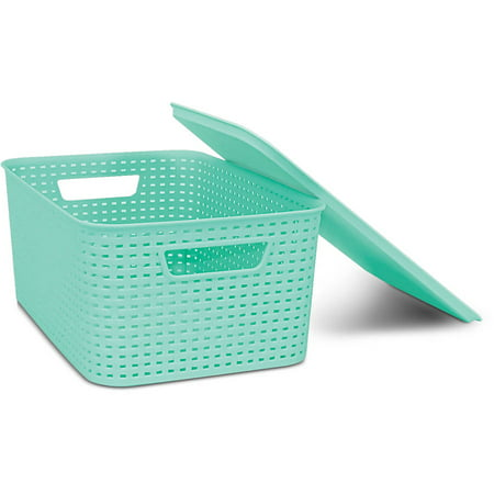 Homz Plastic Wicker Storage Boxes with Lid, Medium Plastic Box Lid