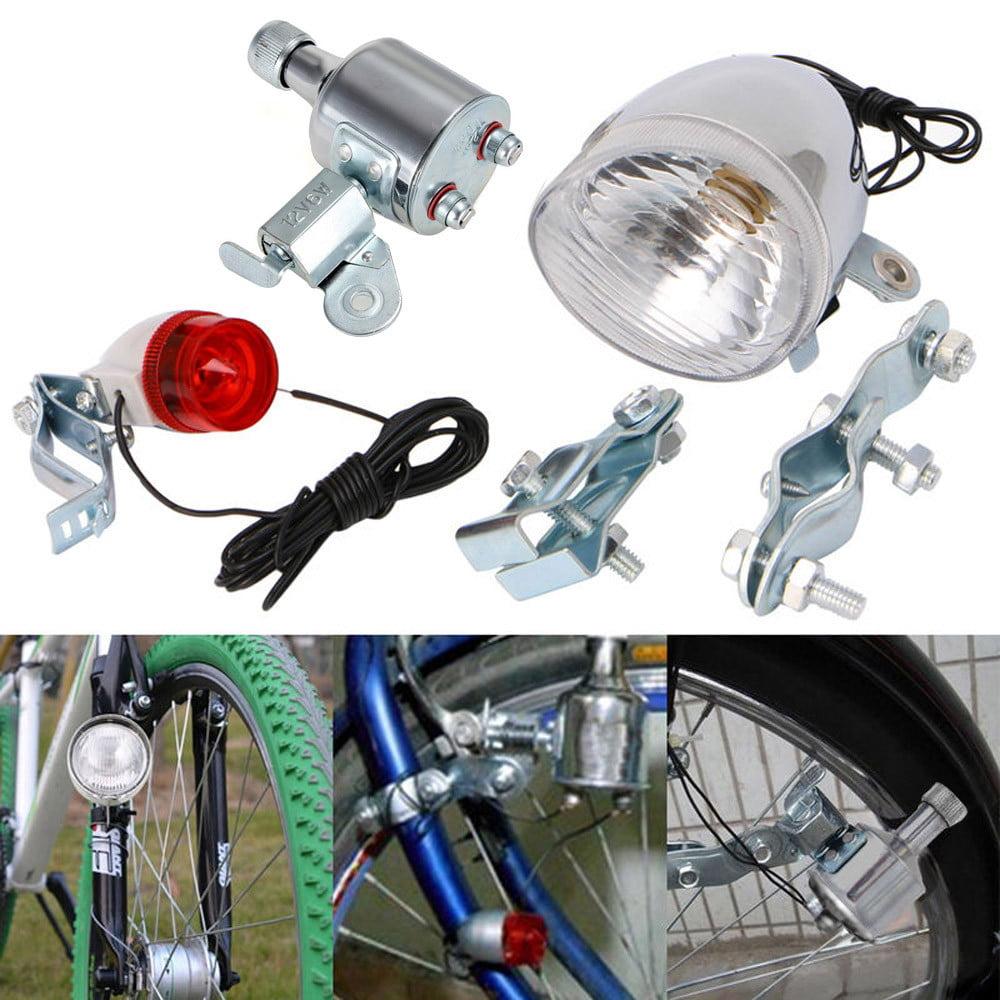12V Friction Generator Headlight Tail Light Kit Fit for Bike Motorized Bike 6W