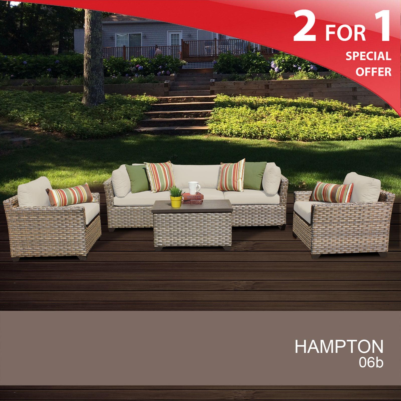 Hampton 6 Piece Outdoor Wicker Patio Furniture Set 06b Walmart