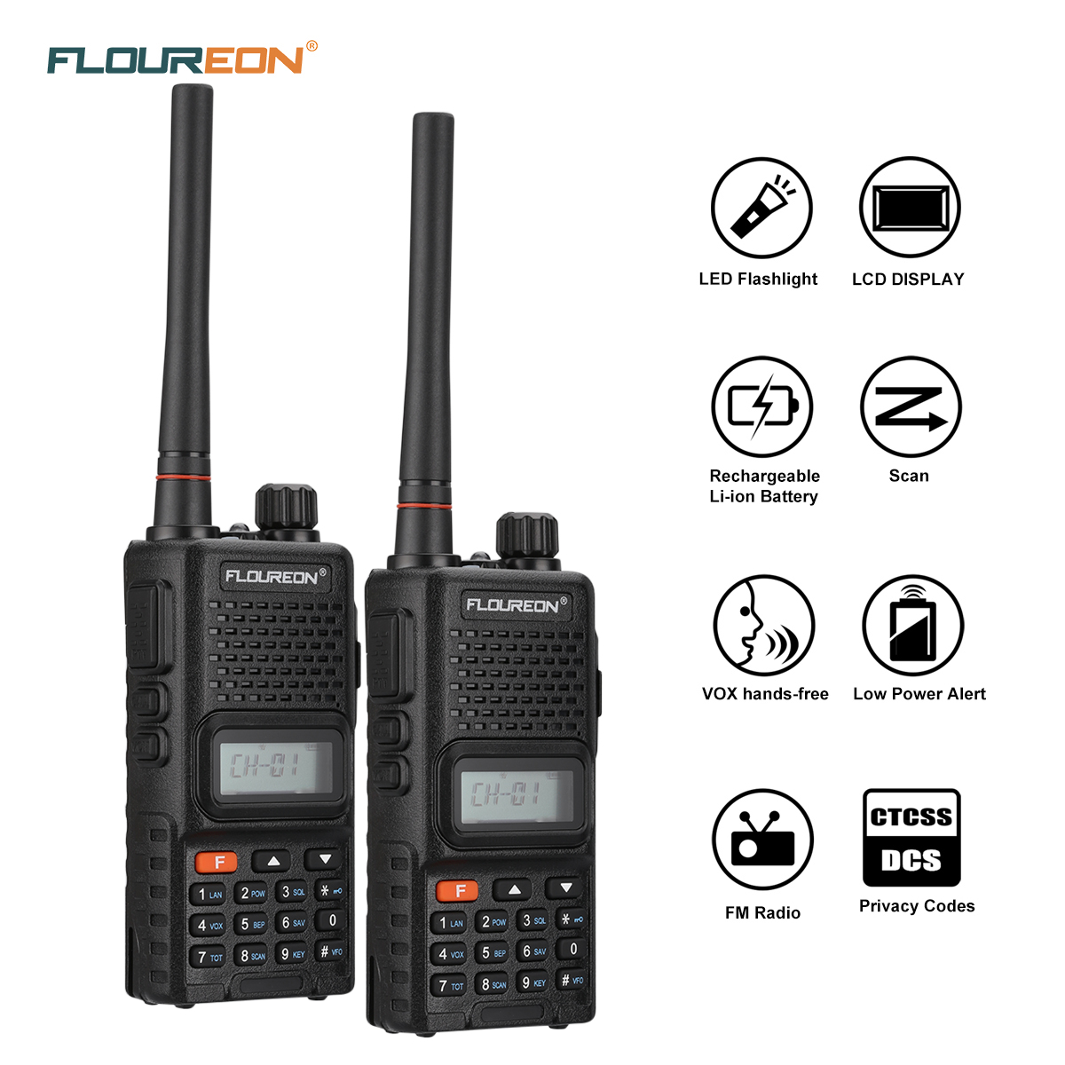 Handheld Walkie Talkies for Adults, FLOUREON 22 Channel Two-Way Radio Long Range 7000M Rechargeable Interphone with LED Light FM Radio Function for Shopping Centres and Outdoor Activities(2 Packs)