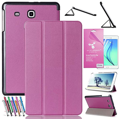 "Galaxy Tab E 8.0 Case, EpicGadget(TM)Tri-fold Stand Ultra Lightweight Slim Smart Cover PU Leather Case for SM-T378/SM-T377 Samsung Tab E 8"" Tablet With Tab E 8.0 Screen Protector and 1 Stylus (Purple)"